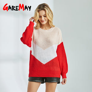 Knitted Red Sweater Female Jumper Loose O-Neck Womens Pullover Long Sleeve Sweaters Casual  Autumn Winter Sweater For Women