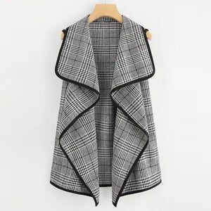 Autumn Office Ladies Coats Women Vest Sleeveless Women Plaid Open Front