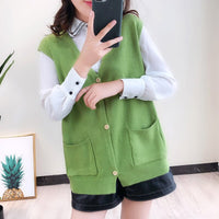 Solid V-Neck Loose Vests For Women Plus Size Waistcoat Single-breasted