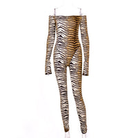 Hugcitar 2019 Tiger print slash neck slit long sleeve sexy jumpsuit autumn winter women streetwear slim outfits body