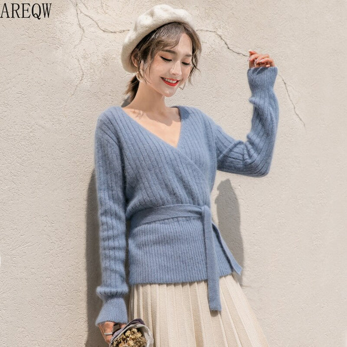 V-neck Belt Tie Sweater for Women In Spring Autumn 2019 Knit Sweater Women Jacket