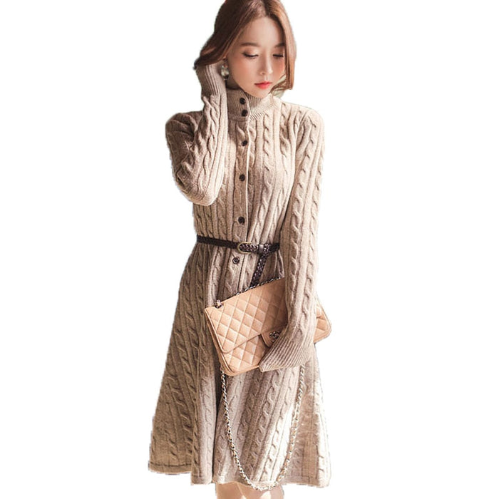 Woman long twist Knitted Cardigan Sweater Dress Casual Slim long-sleeved