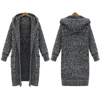Women's sweater new large size jacket loose super long hooded thick knit cardigan
