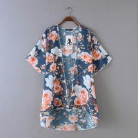 Kimono Cardigan Womens Tops And Blouses Vintage Floral Print Half Sleeve Blouse Tunic