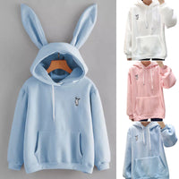 Kawaii Sweet Rabbit Ears Hooded Sweatshirt Women Hoodies Harajuku Loose Embroidery Cartoon Pullovers Tracksuits Sweatshirt Plus