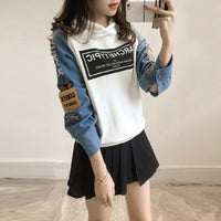 Loose Hoodies Women New Fashion Patchwork Hoodies Black White Hooded Casual Outdoor Long Sleeve Letter Print Pullover Female