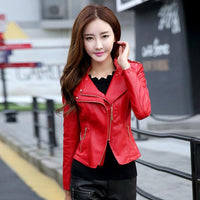 2018 New Fashion Spring Autumn Faux Soft Leather Jackets For Women Pu Black Blazer Zippers Women Motorcycle Jacket