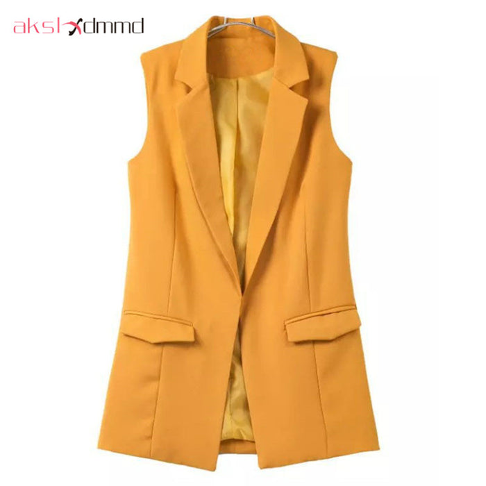 Blazer Vest Coat New Spring and Autumn Turn-down Collar Sleeveless Fashion Women's