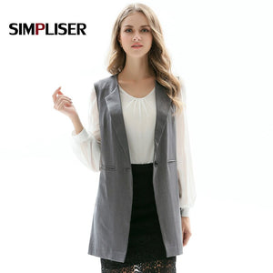 Blazer Vest For Women Sleeveless Ladies Casual Coats Grey Black Sleeveless