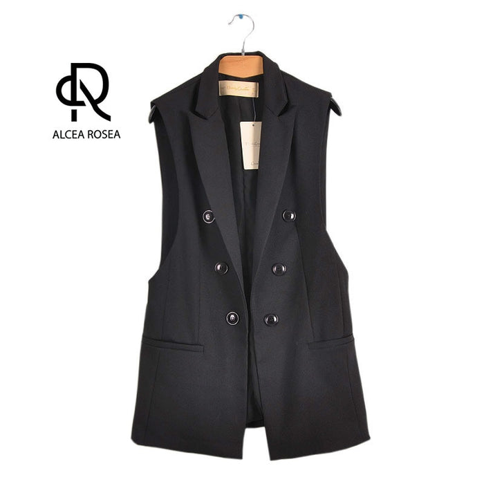 Vest Suit for Women Sleeveless Jacket Office Lady Blazers Spring Summer Autumn Black White