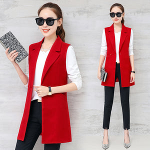 Autumn Sleeveless Blazer Vest Office Lady Long Vest Women Black Red Pocket Outwear Jacket Work Long