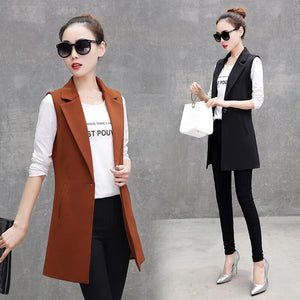 Blazer Vest Office Lady Long Vest Women Black Red Pocket Outwear Jacket