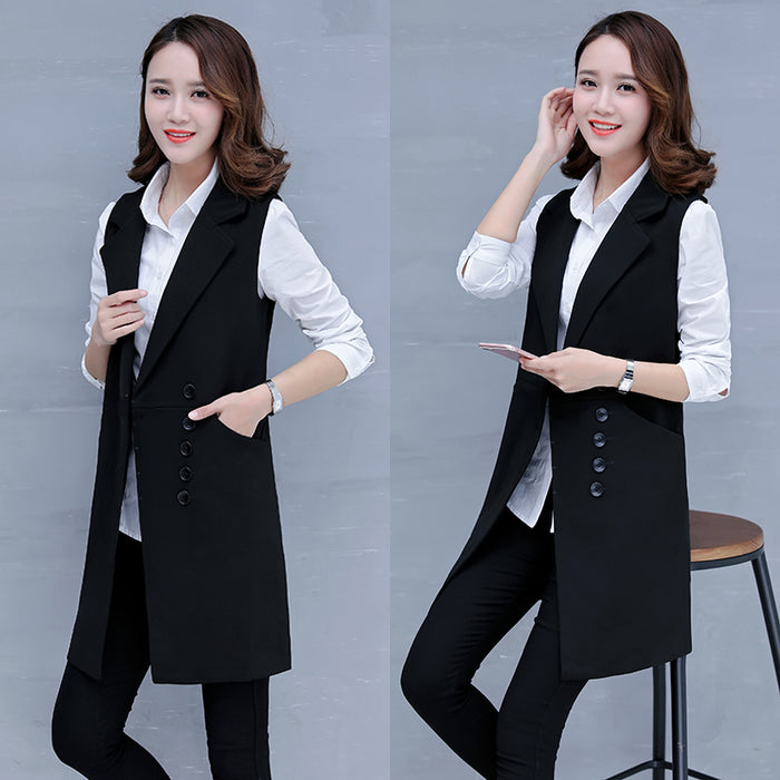 Women's Spring Autumn Sleeveless Blazer lattice Vest Long Vest Waistcoat
