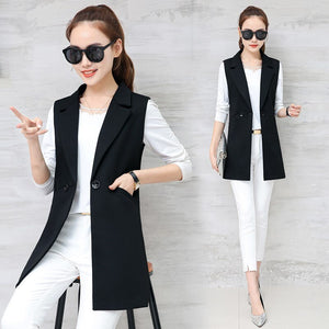 Autumn Women Pockets Turn-Down Collar Long Vest Button