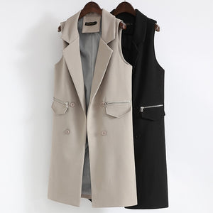 Autumn Long Vest Waistcoat Female Women Outwear Longline Jacket Pocket