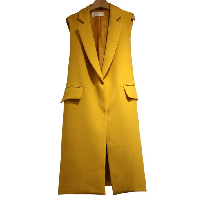 Long Blazer Vest Women Autumn Turn-down Collar Sleeveless Jacket Elegant