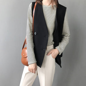 Autumn sleeveless vest female short all-match casual blazer jacket v-neck double breasted cardigan