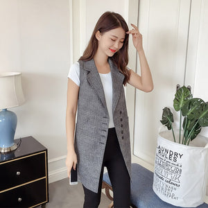 Blazer Fashion Vintage Plaid WaistCoat Plus Size Casual Sleeveless Vests