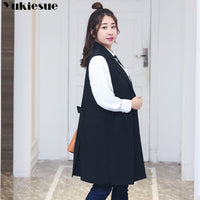 Fashion Pockets Long Blazer Vest Women Autumn Waistcoat Turn-down Collar Sleeveless Jacket