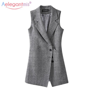 Aelegantmis Long Plaid Vest Women's Sleeveless Blazer Spring Autumn Large Size