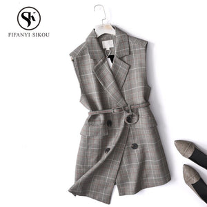 Blazer Vest Women Casual Sleeveless Pockets OL Coat Waistcoat Female