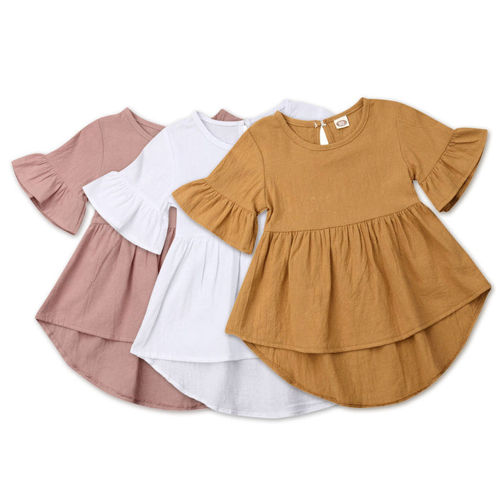 Toddler Baby Girls Dress Summer Tutu Party Holiday Short Sleeve Dresses For Baby Girls Solid Girls Clothes