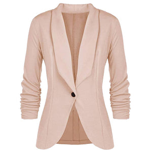 Beige single button women blazers and jackets spring autumn fashion ladies business