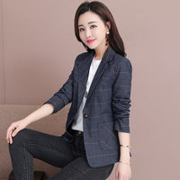 VANGULL Plaid Blazers Women Casual Short Blazers 2019 Autumn New Female Spring Korean Long Sleeve Single Breasted Slim Suit