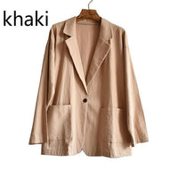 Blazer Coat Loose Casual Outwear Vintage Female Solid Work Office Lady