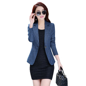 Blazer Women Suit One Button Office Female Blazers Jackets Short Slim Womens Business