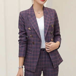 Blazer Jacket Notched Collar Double Breasted Female Suit Coat Fashion Outerwear blazer