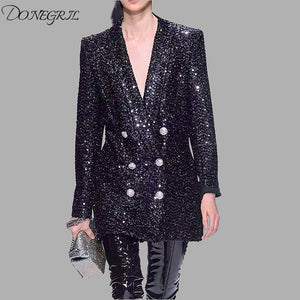 Autumn Runway Sequined Blazer Notched Long Sleeve Breasted Long Black Blazer