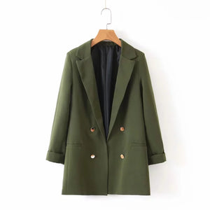 ArmyGreen blazer suit 2019 office ladies double breasted blazers jackets girls