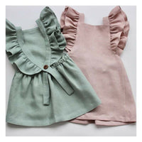 Summer Casual Cute Infant Kids Baby Girl Summer Solid Color Ruffle Princess Party Dress Clothes
