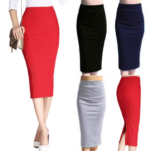 Newly Fashion 2018 Skirt Women Sexy Pencil Skirts Bodycon Office Women Knee Length Slim High Waist Stretched Jupe Femme 19ING