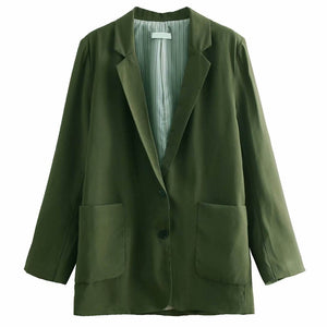 Army Green Blazer Suit Casual Jacket Coat Outerwear Office Chic Tops