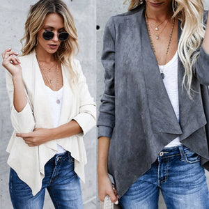 2019 Spring Women Blazer Ladies Faux Suede Waterfall Drape Lapel Long Sleeve
