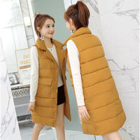 Autumn Winter Mid-Long Cotton Vest Jacket Women New Sleeveless Solid