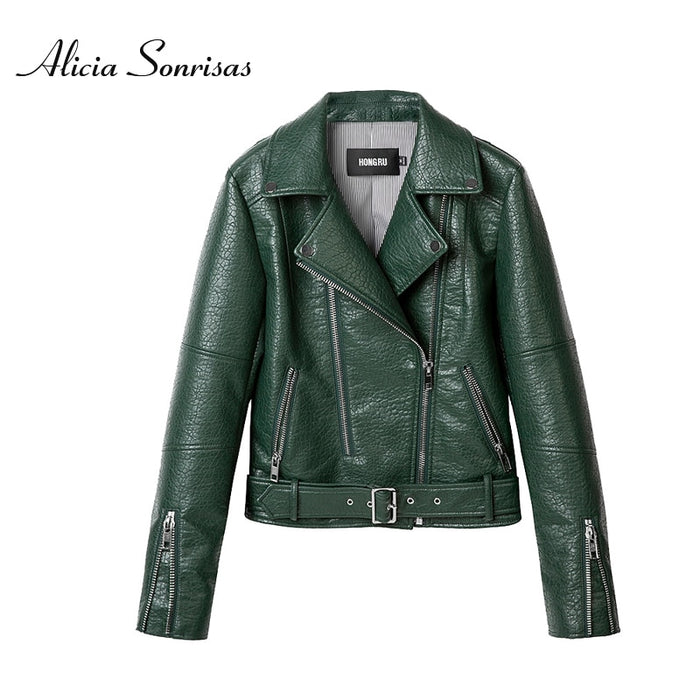 2019 Autumn Leather Jacket Women Green Short Motorcycle PU Long Sleeve High End Leather 3 Colors Biker Coat HR1018