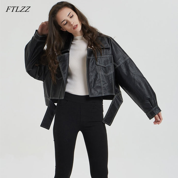 FTLZZ Spring Autumn Faux Leather Jacket Women Loose Motorcycle Faux Leather Coats Women Clothing Outerwear