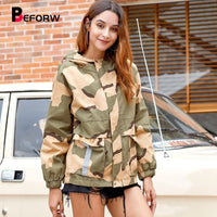BEFORW 2019 New Fashion Fall Women Casual Camouflage Print Bomber Jacket