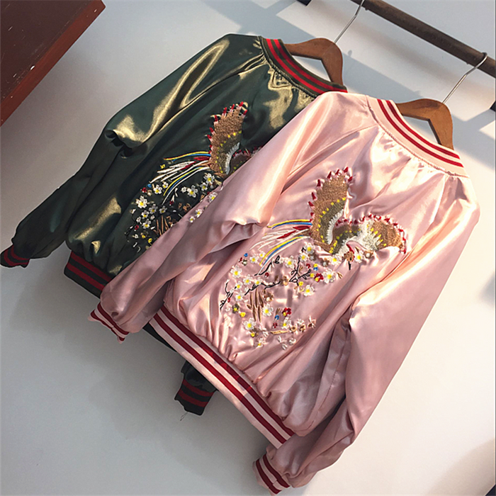 high quality  2019 New Fashion Print Flower Embroidery Womens Bomber Jacket Baseball Ladies Outerwear Harajuku Coat Blusa
