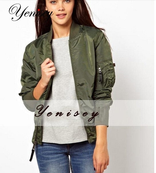 Coats Promotion Rushed 2019 Women Jacket Chaquetas Mujer Womens Army Flying Bomber With Zipper Decpration Coat 3 Colors