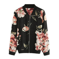 Women's bomber jacket Women Fashion Floral Print Zipper Bomber