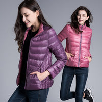 Light Duck Warm Coat Pockets Autumn Short Puffer Jacket Casual Slim