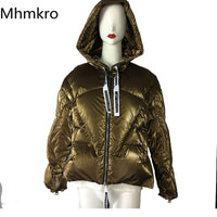 Hot Design Metal Puffer Winter Women Wear With Big Hood Outwear