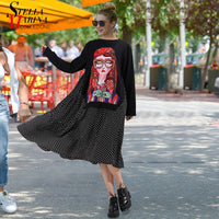 New 2019 Autumn Winter Women Black Casual Cartoon Dress Polka Dots Print Long Sleeve Lady Cute Loose Midi Dress Robe Femme 3243