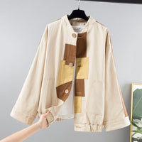 Autumn Fashion Patchwork Safari Style Windbreaker Coat Women Harajuku Large size Loose Short Long sleeve Jacket Women Outerwear