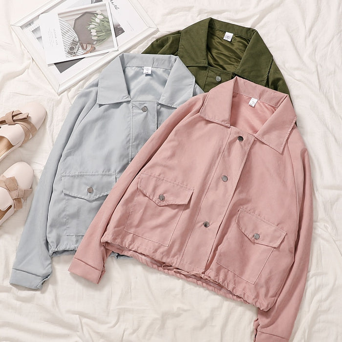 Basic Safari Loose Coat Women Casual Long Sleeve Turn-down Collar Single Breasted Korean Straight Pink Green Cardigan Jacket