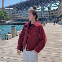 2019 Women's Casual Loose Pocket Corduroy Utility Jacket Single Breasted Short Jackets Fashion Women Spring Autumn Jackets ON415